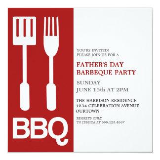 おもしろいの父の日BBQのパーティの招待状 13.3 スクエアインビテーションカード