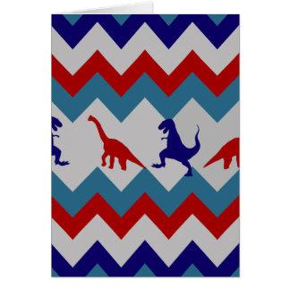 おもしろいの男の子の恐竜の赤く青いシェブロンパターン カード