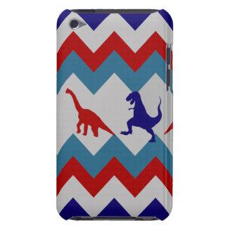 おもしろいの男の子の恐竜の赤く青いシェブロンパターン iPod TOUCH カバー