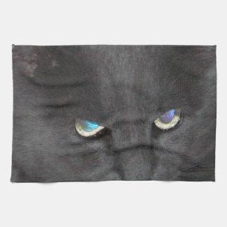 おもしろいの着色された目を持つ灰色の子猫猫 キッチンタオル