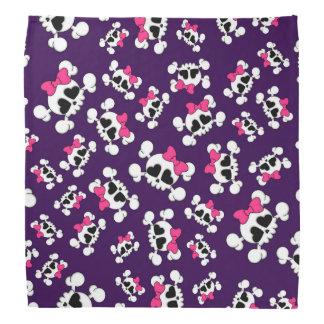 おもしろいの紫色のスカルおよび弓パターン バンダナ