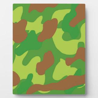 おもしろいの緑の組合せの迷彩柄 フォトプラーク