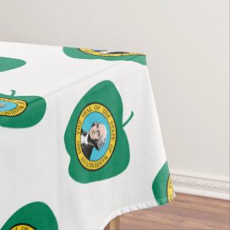 おもしろいの緑のAppleワシントン州の旗 テーブルクロス