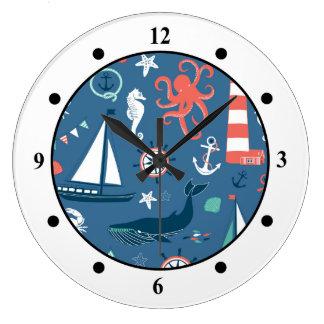 おもしろいの航海ので写実的なパターン ラージ壁時計