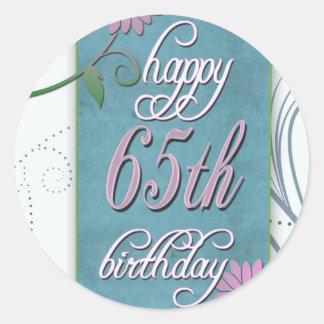 おもしろいの花との幸せな第65誕生日 ラウンドシール