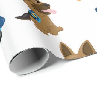 おもしろいの警察犬パターンパーティーの包装紙 ラッピングペーパー