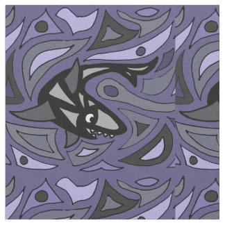 おもしろいの鮫の抽象芸術の生地 ファブリック