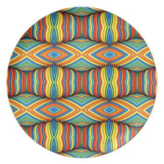 おもしろいの鮮やかな色の次元の万華鏡のように千変万化するパターンのデザイン プレート