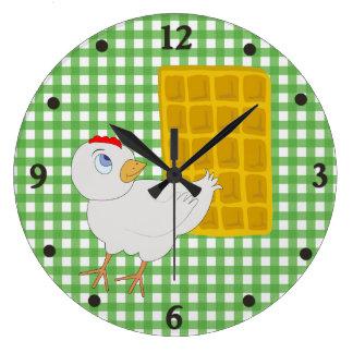 おもしろいの鶏およびワッフルの台所柱時計 ラージ壁時計