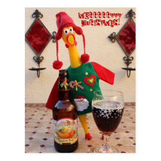 おもしろいの鶏のクリスマスの郵便はがき! ポストカード