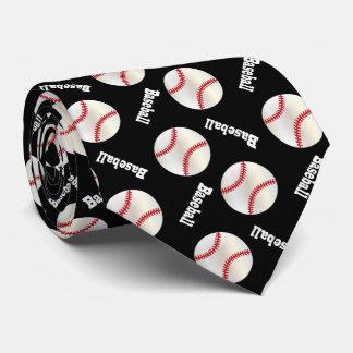 おもしろいの黒い野球パターン カスタムネクタイ