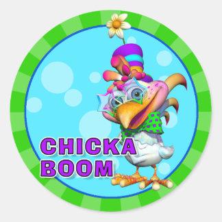 おもしろいのChickaboomのステッカー ラウンドシール