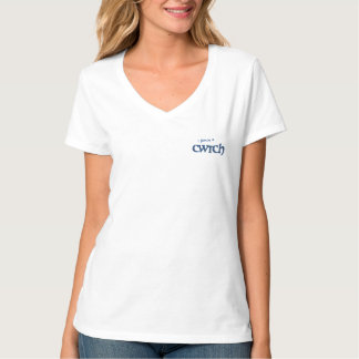 おもしろいのV首のTシャツ、水玉模様のウェールズCwtchのスローガン Tシャツ