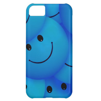 おもしろいは幸せで青いスマイリーフェイスを冷却します iPhone5Cケース