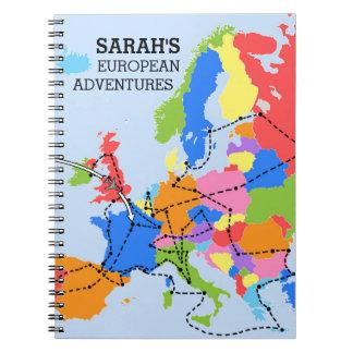 おもしろいカラフルで名前入りなヨーロッパ旅行ジャーナル ノートブック