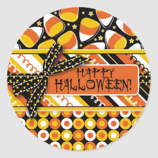 おもしろいキャンデートウモロコシのハロウィン色 ラウンドシール