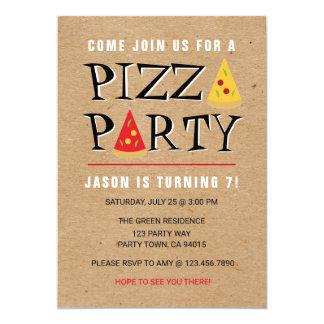 おもしろいピザパーティーの誕生祝いの招待 カード