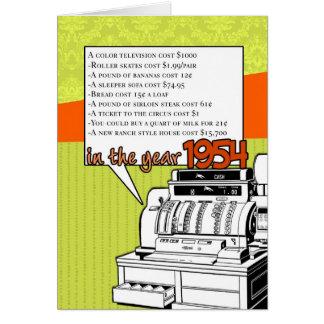 おもしろい事実の誕生日- 1954年に生活費 カード