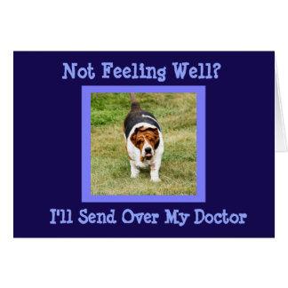 """""""おもしろい健康な""""カードw/Cuteバセットハウンドの医者を得て下さい カード"""