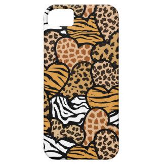 おもしろい動物パターンハート iPhone SE/5/5s ケース