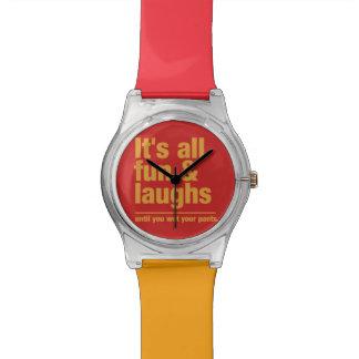 おもしろい及び笑いカスタムな色の腕時計 腕時計