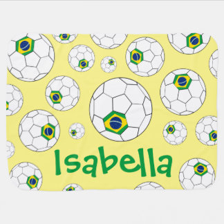 おもしろい名前入りな任意パターンブラジルのサッカーボール ベビー ブランケット