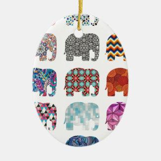 おもしろい多彩でファンキーな象のデザイン セラミックオーナメント
