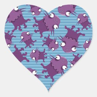 おもしろい子供へ紫色モンスターの創造物の青いギフト ハートシール