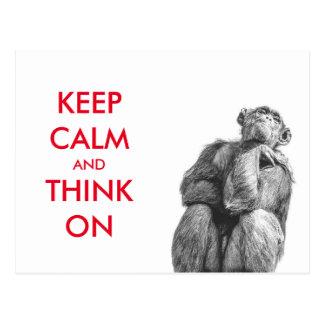 おもしろい平静を保ち、チンパンジーで考えて下さい ポストカード