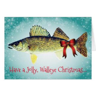 """""""おもしろい持って下さいすてきなWalleyeのクリスマス""""を カード"""