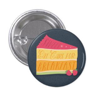 おもしろい朝食ボタンのためのケーキを食べて下さい 3.2CM 丸型バッジ