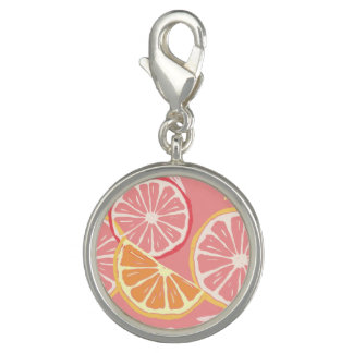 おもしろい熱帯ピンク種のグレープフルーツおよびレモンパターン チャーム