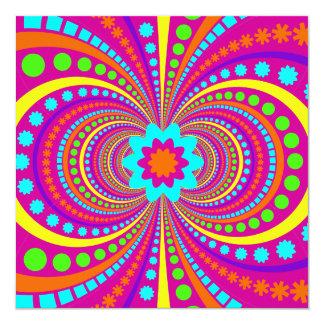 おもしろい熱狂するなパターンショッキングピンクのオレンジのティール(緑がかった色) カード