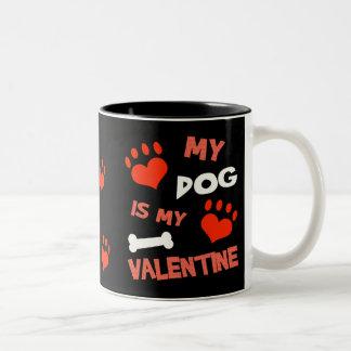 おもしろい犬のバレンタインデーのマグ ツートーンマグカップ
