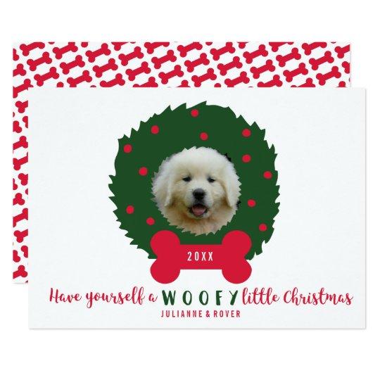 おもしろい犬の恋人のクリスマスのリースあなたの犬の写真 12.7 X 17.8 インビテーションカード