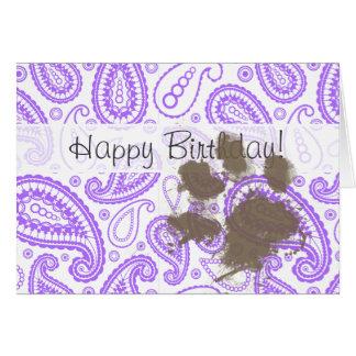 おもしろい犬の所有者のギフト; 紫色のペイズリーパターン カード