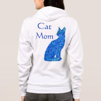 おもしろい猫のお母さんの青抽象的な着席猫の芸術の服装 パーカ