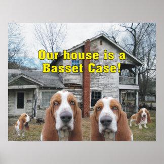 おもしろい私達の家はバセット犬の例です! ポスター