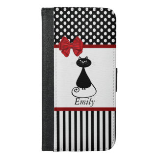 おもしろい粋でガーリーでお洒落な猫の水玉模様のモノグラム iPhone 6/6S PLUS ウォレットケース