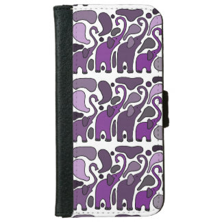 おもしろい紫色象の芸術 iPhone 6/6S ウォレットケース