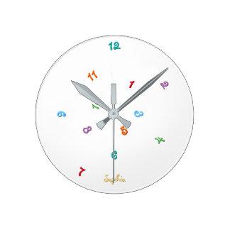おもしろい色の乱雑な時間の名前入りな一流の子供 時計