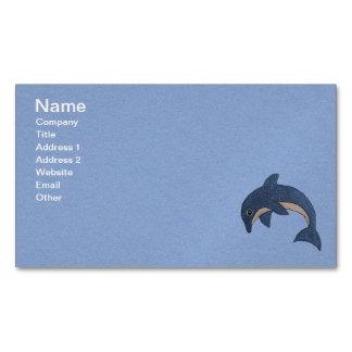 おもしろい青の少し輝きの青く白いイルカ マグネット名刺