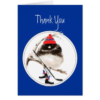 おもしろい、のアイスホッケーの冬季スポーツの鳥ありがとう カード