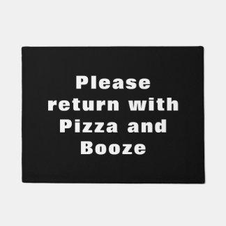 おもしろい-ピザ及び酒宴と戻して下さい ドアマット