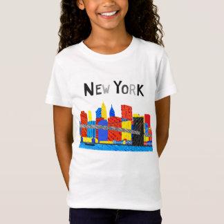 おもしろい、マンハッタンスカイラインのよくはしゃぐなイラストレーション Tシャツ