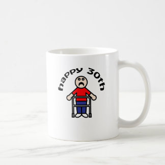 """おもしろい、""""幸せな第30""""歩行者のデザイン コーヒーマグカップ"""