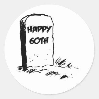 """おもしろい、""""幸せな第60""""墓石のデザイン ラウンドシール"""