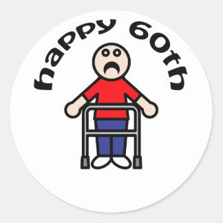 """おもしろい、""""幸せな第60""""老人のデザイン ラウンドシール"""
