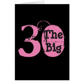 おもしろい、第30誕生日、ピンク、黒の黒い文字 カード