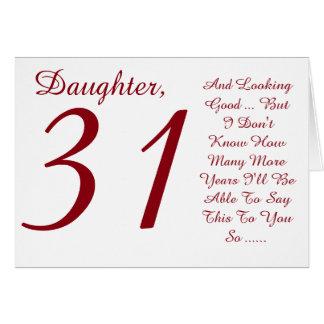 おもしろい、第31誕生日、娘、赤と白のテキスト カード